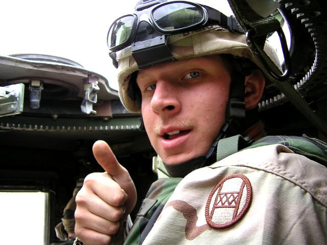 Unidentified American soldier giving the thumb-up, taken by an American soldier in Charlie Company, 1/252 Army Reserve Battalion.