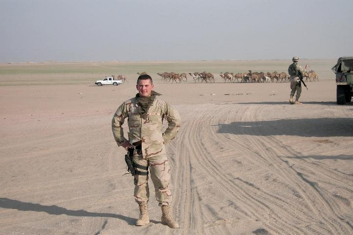 Photograph of an American soldier and the desert in Iraq, taken by an American soldier of C Co, 1/252 Army Reserve Battalion.