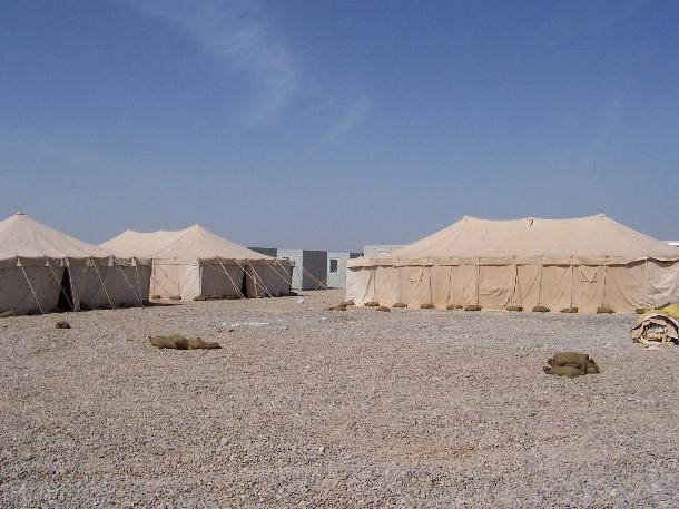 Photograph of tents in Iraq, taken by an American soldier of C Co, 1/252 Army Reserve Battalion.